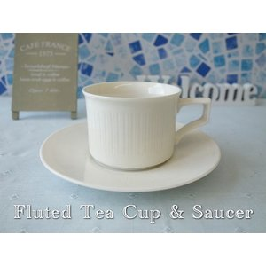 フルーテッドティーカップ&ソーサー/カップソーサーセット 北欧風 ティーカップ 業務用 おしゃれ 陶器 白い食器|puchiecho