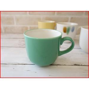 (訳あり)和色カラーバリエーションミニマグカップ(孔雀緑)/おしゃれ 美濃焼 カフェ食器 かわいい 陶器 白い食器 アウトレット\|puchiecho