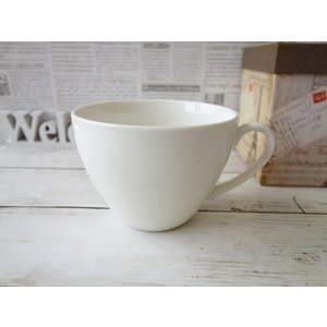 適量サイズ350mlのビッグカフェオレカップ/大きい おしゃれ 美濃焼 カフェ食器 かわいい 陶器 白い食器 シンプル\|puchiecho