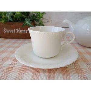 かわいいおしべの彫刻入りコーヒーカップ&ソーサー/カップソーサーセット ティーカップ 業務用 おしゃれ 陶器 白磁|puchiecho