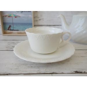 かわいいおしべの彫刻入りティーカップ&ソーサー/カップソーサーセット ティーカップ 業務用 おしゃれ 陶器 白磁|puchiecho