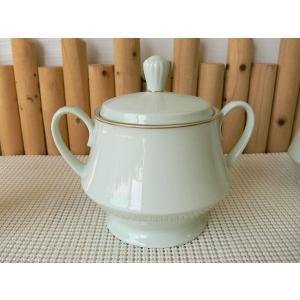 ノリタケのグリーンのコーヒーシュガーポット/砂糖入れ/ブランド食器 陶器 おしゃれ ミルクピッチャー レトロ 調味料入れ\|puchiecho
