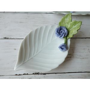 高級白磁材質ローズデコ16cm木の葉の小皿(ブルーローズ)ロココ調 かわいい おしゃれ 日本製 バラ 薔薇 お香立て アウトレット込み|puchiecho