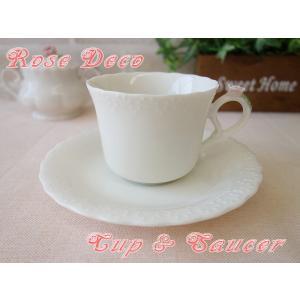 おだやかなベージュ色ローズデコティーカップ&ソーサー(ピンクローズ)/ロココ調 コーヒーカップ かわいい おしゃれ 日本製 アンティーク アウトレット込み/|puchiecho