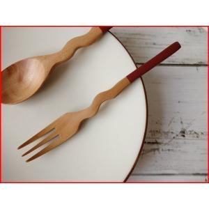 木製カトラリー13cmくねくねカステラフォーク/赤/木の食器,木製食器,おすすめ,おしゃれ,通販,販売\|puchiecho