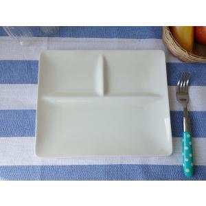 フォーマルな仕切り24cmランチプレート(ベージュ色)日本製 美濃焼 洋食器 白い食器 仕切り皿 仕切りプレート ワンプレート カフェ食器 お子様ランチ おしゃれ|puchiecho