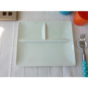 フォーマルな仕切り24cmランチプレート(グリーン色)日本製 美濃焼 洋食器 白い食器 仕切り皿 仕切りプレート ワンプレート カフェ食器 お子様ランチ おしゃれ puchiecho