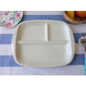 カジュアルな仕切り28cmランチプレート(ベージュ色)日本製 美濃焼 洋食器 白い食器 仕切り皿|puchiecho