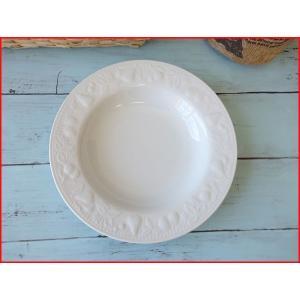(訳あり)ヨーロッパ風の果物の彫刻入り21cmパスタ皿(ストロベリー&バイン&ペア&チェリー)/カレー皿 パスタ皿 アウトレット 食器 おしゃれ 美濃焼 日本製|puchiecho