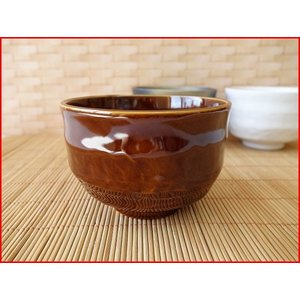 アメ釉薬10cmミニ抹茶茶碗/抹茶碗 ナチュラル 小鉢 カフェオレボウル 和\ puchiecho