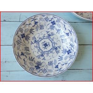 ブルーペルシアン21cmビーフカレー皿   パスタ皿 カレーパスタ皿 食器 おしゃれ 美濃焼 日本製 業務用 北欧風|puchiecho