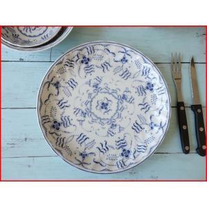 ブルーペルシアン24cmランチプレート/おしゃれ ワンプレート 大皿 食器 激安 白 北欧風 インスタ映え puchiecho