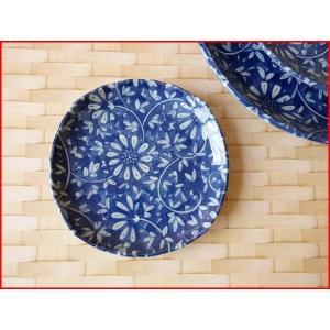 藍染花唐草12cm醤油皿/菓子皿 銘々皿 美濃焼 小皿 和食器 おしゃれ 陶器 インスタ映え|puchiecho