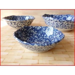 藍染花唐草12cmくらげの酢の物小鉢/和食器 おしゃれ 食器 業務用 激安 美濃焼 インスタ映え|puchiecho