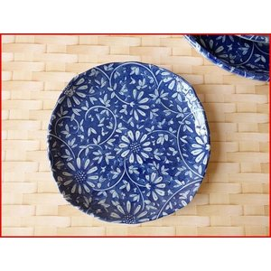 藍染花唐草15cm厚焼き卵の取り皿/菓子皿 銘々皿 美濃焼 小皿 和食器 おしゃれ 陶器 インスタ映え|puchiecho