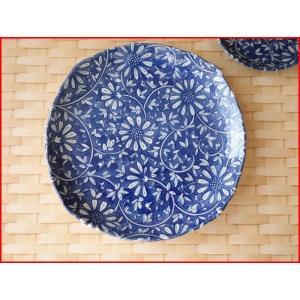 藍染花唐草20cmさわらの西京焼き四方皿/和風ケーキ皿/和食器 おしゃれ 中皿 雑貨 美濃焼 インスタ映え|puchiecho