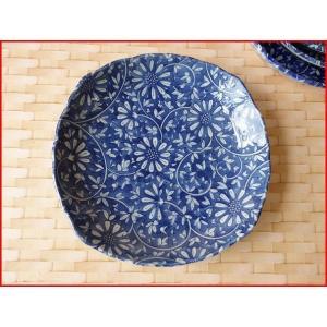 藍染花唐草21cmミニカレー皿/パスタ皿 和食器 和皿 おしゃれ 美濃焼 日本製 業務用 インスタ映え|puchiecho