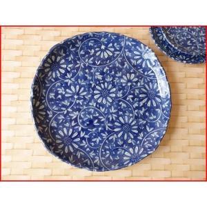 藍染花唐草23cm和風ランチ皿/和食器 おしゃれ ワンプレート 食器 激安 大皿 ランチプレート\|puchiecho