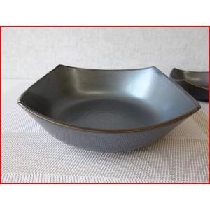 和鉄器スクエアー19cm和風サラダボール/角皿/和食器 大鉢 盛り鉢 陶器 ボウル 大 美濃焼\|puchiecho