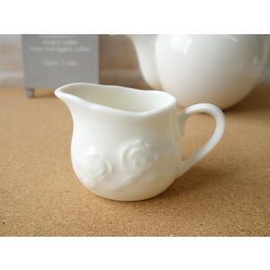 適量70cc(3人用)おしゃれなバラの彫刻のミルククリーマー(小)ミルクポット ミルクピッチャー 陶器 通販 ソースポット ソース入れ|puchiecho