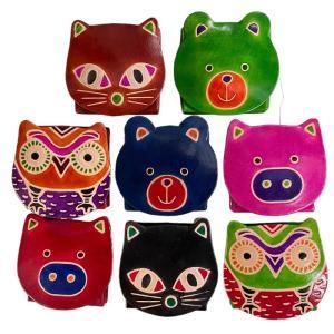 コインケース 財布 フクロウ柄 ネコ柄 ブタ柄 クマ柄 小銭入れ かわいい 動物柄 ふくろう 猫柄 ふくろう 革製 レザー 父の日|puchikobe