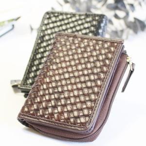 コインケース 財布 L字ファスナータイプ 編み込みデザイン メッシュデザイン メンズ コンパクト 小さめ 父の日|puchikobe