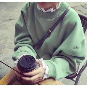 春☆レディーストップス★スウェット 可愛い ブラウス レイヤードシャツ 厚手 ゆったり|puchiwink