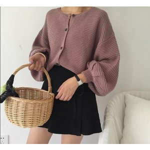 レディースニット セーター ブラウス パフスリーブ 羽織り|puchiwink