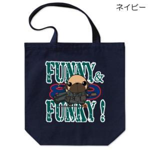 カラー他選べる FUNNY&FUNKY パグ戦士(フォーン)コットントートバッグ(ぱぐ グッズ)|pugbiiki