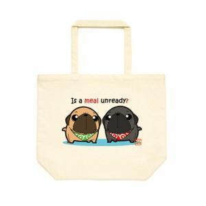 カラー選べるトートバッグLサイズ ごはん待ちパグ(フォーン&黒パグ) pugbiiki