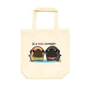 カラー選べるトートバッグMサイズ ごはん待ちパグ(フォーン&黒パグ) pugbiiki