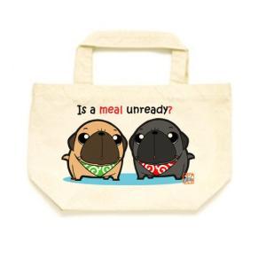 カラー選べるトートバッグSサイズ ごはん待ちパグ(フォーン&黒パグ) pugbiiki
