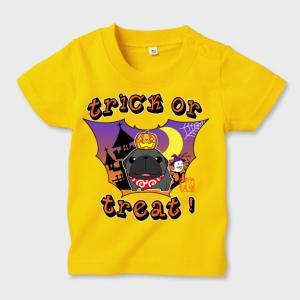 キッズ カラーTシャツ ハロウィン パグ(黒パグ)1(ぱぐ グッズ)|pugbiiki