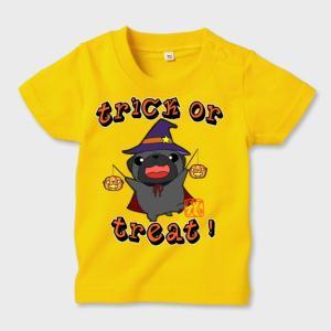 キッズ カラーTシャツ ハロウィン パグ(黒パグ)2(ぱぐ グッズ)|pugbiiki