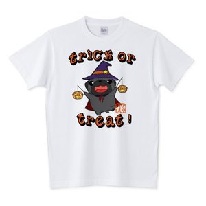 サイズ豊富!ハロウィン パグ2(黒パグ)白Tシャツ|pugbiiki
