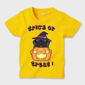 キッズ カラーTシャツ ハロウィン パグ(黒パグ)3(ぱぐ グッズ)|pugbiiki