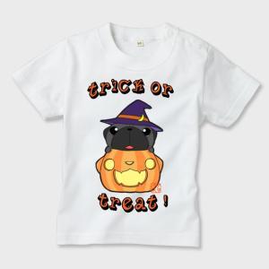 キッズ 白Tシャツ ハロウィン パグ(黒パグ)3(ぱぐ グッズ)|pugbiiki