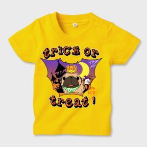 キッズ カラーTシャツ ハロウィン パグ(フォーン)1(ぱぐ グッズ)|pugbiiki