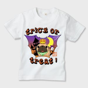 キッズ 白Tシャツ ハロウィン パグ(フォーン)1(ぱぐ グッズ)|pugbiiki