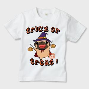 キッズ 白Tシャツ ハロウィン パグ(フォーン)2(ぱぐ グッズ)|pugbiiki