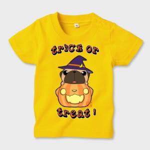 キッズ カラーTシャツ ハロウィン パグ(フォーン)3(ぱぐ グッズ)|pugbiiki