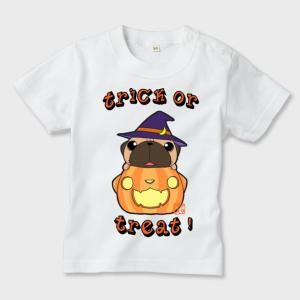 キッズ 白Tシャツ ハロウィン パグ(フォーン)3(ぱぐ グッズ)|pugbiiki