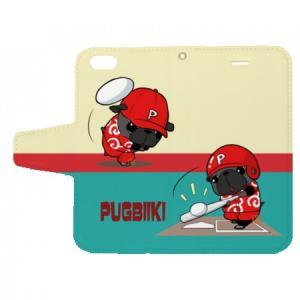 iphoneケース スタンドにもなる片面手帳型 野球パグ(黒パグ)(ぱぐ グッズ)|pugbiiki