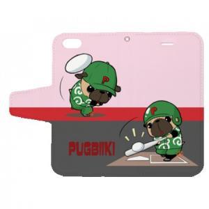 iphoneケース スタンドにもなる片面手帳型 野球パグ(フォーン)(ぱぐ グッズ)|pugbiiki