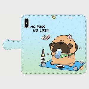 iphoneケース スタンドにもなる片面手帳型 お花見パグ(フォーン)(ぱぐ グッズ)|pugbiiki