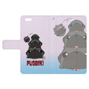 iphoneケース スタンドにもなる片面手帳型 黒パグピラミッド(ぱぐ グッズ)|pugbiiki