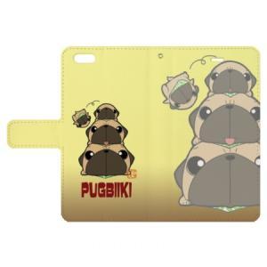iphoneケース スタンドにもなる片面手帳型 パグピラミッド(フォーン)(ぱぐ グッズ)|pugbiiki