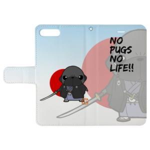 iphoneケース スタンドにもなる片面手帳型 パグ侍(黒パグ)(ぱぐ グッズ)|pugbiiki