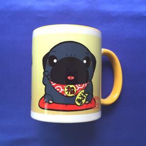 金運招きパグ(黒パグ) カラーマグカップ|pugbiiki