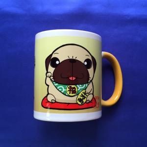 金運招きパグフォーン カラーマグカップ|pugbiiki